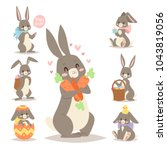 easter rabbit vector holiday... | Shutterstock .eps vector #1043819056