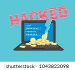 hacked computer with coins | Shutterstock .eps vector #1043822098