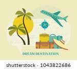 time to travel icon set. flat... | Shutterstock .eps vector #1043822686