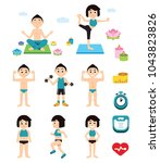 yoga and fitness character and... | Shutterstock .eps vector #1043823826
