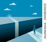 businessman facing a big gap of ... | Shutterstock .eps vector #1043824015