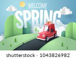 paper art of red car stop at... | Shutterstock .eps vector #1043826982
