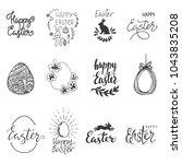 happy easter. egg  rabbit ... | Shutterstock .eps vector #1043835208