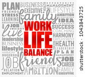 work life balance word cloud... | Shutterstock .eps vector #1043843725