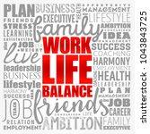 work life balance word cloud... | Shutterstock .eps vector #1043843725