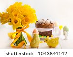easter bouquet of yellow... | Shutterstock . vector #1043844142