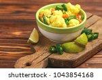 traditional indian cuisine.... | Shutterstock . vector #1043854168