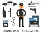 cartoon set of police... | Shutterstock .eps vector #1043861326