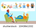 man talking with... | Shutterstock .eps vector #1043861332