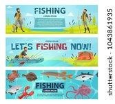 fishing sport banners design of ... | Shutterstock .eps vector #1043861935