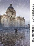 pantheon  paris in the rain... | Shutterstock . vector #1043866282
