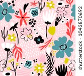 seamless pattern with creative... | Shutterstock .eps vector #1043870692