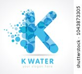 water wave k letter. logo of... | Shutterstock .eps vector #1043873305