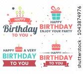 happy birthday vector logo for... | Shutterstock .eps vector #1043874976