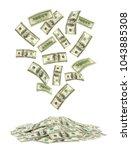 falling money isolated on white ... | Shutterstock . vector #1043885308
