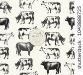 seamless farm vector pattern.... | Shutterstock .eps vector #1043888725