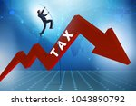 businessman jumping over tax in ... | Shutterstock . vector #1043890792