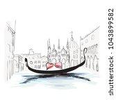 venetian canal  gondola ... | Shutterstock .eps vector #1043899582