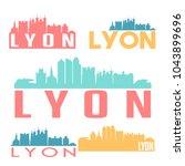 lyon flat icon skyline vector...   Shutterstock .eps vector #1043899696