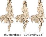 Burlesque Dancer Girl. Vector...