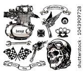 motorcycle vector elements set... | Shutterstock .eps vector #1043909728