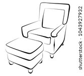 sofa furniture vector isolated... | Shutterstock .eps vector #1043927932