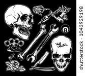 set of black and white skull... | Shutterstock .eps vector #1043929198