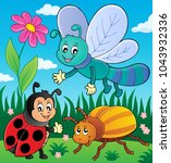 spring animals and insect theme ... | Shutterstock .eps vector #1043932336