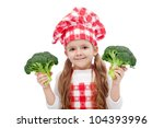 Happy little chef girl with hat and apron holding broccoli - isolated - stock photo