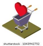 shopping cart with heart... | Shutterstock .eps vector #1043942752