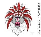 drawn monkey. mandrill in a... | Shutterstock .eps vector #1043948428