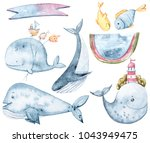 Cute Watercolor Whales And...