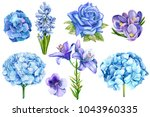 set of blue flowers  rose  lily ... | Shutterstock . vector #1043960335
