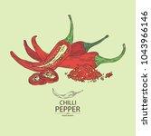 chilli pepper  a piece of hot... | Shutterstock .eps vector #1043966146