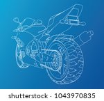 sport motorcycle technical wire ... | Shutterstock .eps vector #1043970835