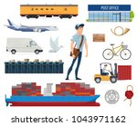post mail delivery and postman... | Shutterstock .eps vector #1043971162
