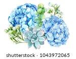 bouquet of blue flowers ... | Shutterstock . vector #1043972065