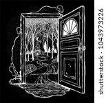 open door into a nature. hand... | Shutterstock .eps vector #1043973226