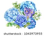 bouquet of blue flowers  rose ... | Shutterstock . vector #1043973955