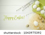 easter holiday background. flat ...   Shutterstock . vector #1043975392