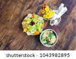 smoke salmon dumpling salad and ... | Shutterstock . vector #1043982895