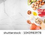ketogenic low carbs diet... | Shutterstock . vector #1043983978