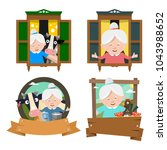 set of icons with grandmothers. ... | Shutterstock .eps vector #1043988652