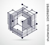 vector of modern abstract cubic ... | Shutterstock .eps vector #1043988985