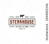 vintage steak house logo. retro ... | Shutterstock .eps vector #1044002146