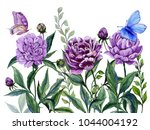 beautiful purple peony flowers... | Shutterstock . vector #1044004192
