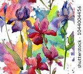wildflower iris flower pattern...   Shutterstock . vector #1044004456