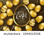 happy easter background with... | Shutterstock .eps vector #1044013528