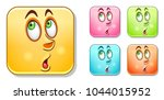 surpised male emoji face.... | Shutterstock .eps vector #1044015952