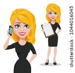 beautiful business woman... | Shutterstock .eps vector #1044016045